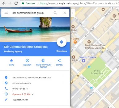 Stir Marketing Google Maps