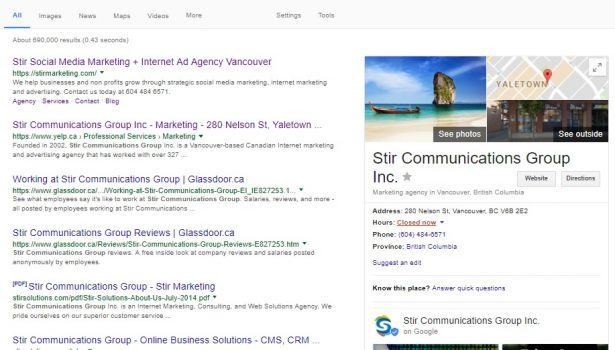 Stir Marketing Google Search