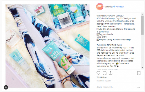 Sample Instagram Contest Fabletics - Stir Marketing