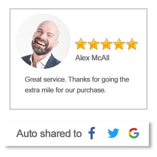 birdeye auto reviews sharing to social media